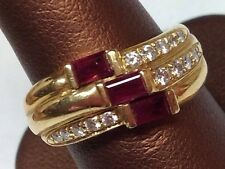 3 ROW DIAMOND RUBY 18K YELLOW GOLD RING SIZE 6.5