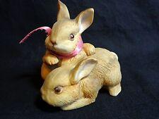"""Bunny Figurine 3.5"""" Homco 1455 Rabbits Vintage 1980 Home Interior"""