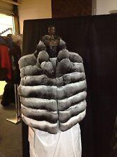 EMPRESS CHINCHILLA NATURAL GREY VEST SHRUG WRAP Sleeveless Jacket NEW SAKS
