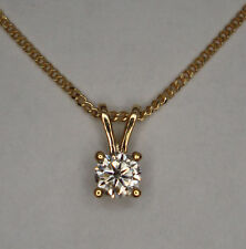 1/3CT SOLITAIRE DIAMOND 9ct YELLOW GOLD 4 CLAW PENDANT + CHAIN NECKLACE 0.33