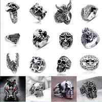 Men's Stainless Steel Big Skull Rings, Metal Gothic Biker Punk Ring