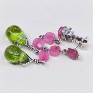 Sterling 925 silver handmade earrings w/ Indian ruby N green teardrop glass