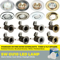 Standard or Fire Rated GU10 Downlights Fixed / Tilt with LED bulbs Ceiling Spots