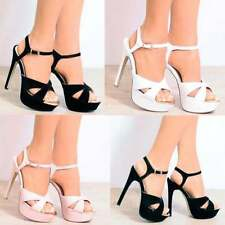 Patternless Stiletto Peep Toe Heels for Women
