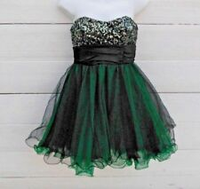 Speechless Women XS Prom Party Dress Black Green TuTu Skirt Strapless Sequins