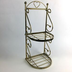 Gold Tone Metal Wall Mounted Small Double Shelf Bathroom Vintage Shabby Chic
