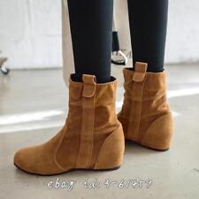 Britischen Damenstiefel Ankle Boots Hidden Heels Herbst Winter Schuhe Gr.33-50