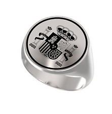 Coat Of Arms Of Spain España Kingdom Engraved Round 925 Sterling Silver Ring