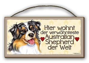 DER VERWÖHNTESTE AUSTRALIAN SHEPHERD - HOLZSCHILD MDF 25x12,5 cm 2 HUNDESCHILD
