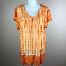 Sakkas Reya Lace Embroidered Cap Sleeve Tie Dye Blouse Top Shirt