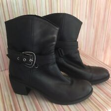 Nine West Ankle Boots Black Leather Motorcycle Buckle Heels Size 9.5M