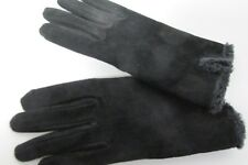 Black Suede Gloves w Pile Lining Est Size 7.5 New, Unused
