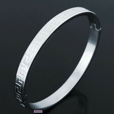 Genuine Solid Titanium Stainless Steel 316L Polish Great Wall Bangle Cuff