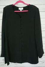 Saks Fifth Avenue Silk Cardigan Sz 14 Black Button Front Long Sleeve Tunic