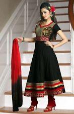 Traditional Black-Red Cotton Anarkali Suit with Zari-Work Laces -Chiffon Dupatta