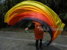 2pcs 2.3m*0.9m black-red-orange-yellow long stripes silk veil poi, edges rolled
