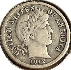 1912 Silver Barber Dime-Fine