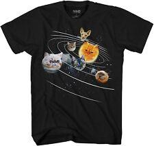 Cat Universe Galaxy Kitten Planets Solar Adult Tee Graphic T-Shirt Men's TShirt
