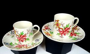 """BOOTHS ENGLAND CHINESE TREE 4 PIECE 2 1/4"""" DEMITASSE CUP & SAUCER SETS 1912-1930"""