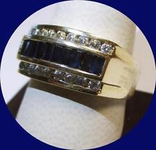 Sharp 14kt Yellow Gold Men's Sapphire & Diamond Ring--Size 12
