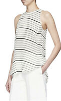 $245 NWT Theory SILK Nautical Ivory Black Striped Blouse Tank Top Sz P Womens XS