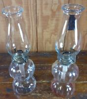 Set of 2 Kerosene Lamps Coal Oil Lanterns Crystal Clear Glass Double Ball Design