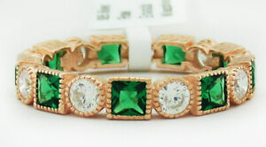 EMERALD & WHITE SAPPHIRE ETERNITY RING .925 Silver (Rose) NWT SIze 6