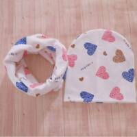 Baby Hats Infant Caps Cotton Scarf Beanies Love Heart Print Hat Scarf Set Girls~