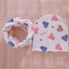 Baby Hats Infant Caps Cotton Scarf Beanies Love Heart Print Hat Scarf Set Gi AU