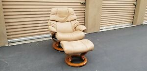 Ekornes RENO Stressless Leather Recliner w/ Ottoman LARGE SIZE