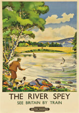 VINTAGE RAILWAY POSTER Scotland Salmon Fishing River Spey Art PRINT A3 A4