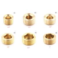 "Brass 1/8"" 1/4"" 3/8"" 1/2"" NPT Brass Internal Hex Thread Socket Pipe Plug~SG"