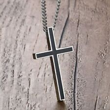 Pendants Women Men Stainless Steel Meaeguet Classic Black Jesus Cross Necklaces