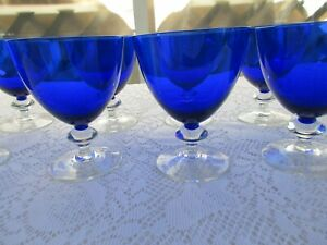 Cobalt Blue Footed Glass Goblets with Clear Stems - 8