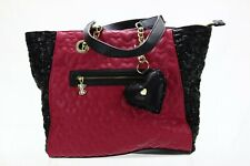 BETSY JOHNSON SHOPPER TOTE BAG/PURSE QUILTED LOVE FUCHSIA/BLACK SEQUIN NEW HEART