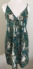 Wet Seal JR Size Medium Cotton Green Paisley Spaghetti Strap Dress Boho Gypsy
