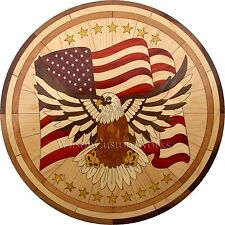 "36"" Wood Floor Medallion Inlay 261 Piece Eagle Flag kit DIY Flooring Table"