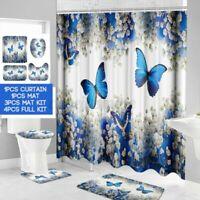 180CM Wasserfest Duschvorhang Badezimmer Toilettensitz Teppich Deckel Matte Set