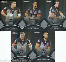 2016 TRADERS NZ WARRIORS BLACK PARALLEL TEAM SET 5 CARDS FREE POST
