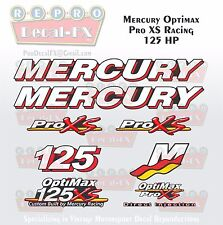 Mercury Marine Racing Optimax Pro XS 125HP Outboard Reproduction Decals 9 Pc