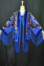 Art to Classic Navy Blue Flower Burnout Velvet Fringe Kimono Coat Duster Short