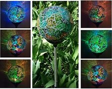 SOLAR GLASS BALL GARDEN LAWN STAKE OUTDOOR PATIO DECOR COLOR CHANGE LED LIGHT