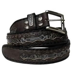 Sendra Leather Belt 8347 original Sendra Handgenäht Gürtel Leder echter Python