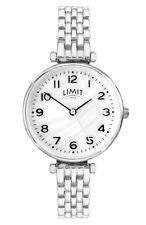 Limit Ladies Silver Tone Bracelet Watch White Pearlescent Dial 6496
