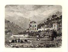 Stampa antica MENTONE Menton Costa Azzurra 1876 Ancienne Gravure Old Print