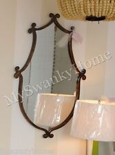 "Large SHAPED IRON Crest 37"" Wall Mirror Vanity Mantle Neiman Marcus Metal Bath"