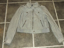 "LADIES TOPSHOP UK 16 EUR 44 BLACK WHITE CHECK BOMBER JACKET CHEST 40"" 102cm"