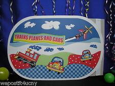 2 PlaceMats For Kids Trains Planes Cars Place Mats