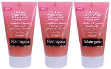 3 x 125ml Neutrogena Oil-Free Acne Face Wash Pink Grapefruit Foaming Scrub