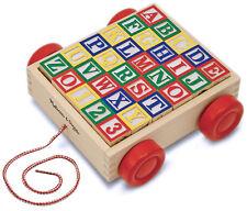 Melissa & Doug Classic ABC 123 Alphabet Wooden Block Cart 30 Wood Blocks 428607